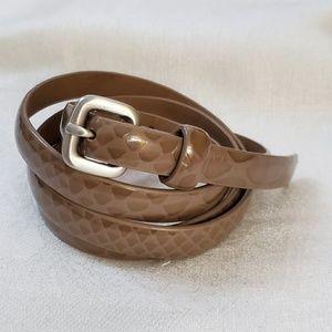 LOFT Taupe Patent Skinny Belt sz M #1324